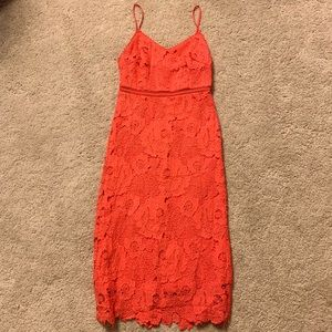 Bebe bright coral lace dress - size 00